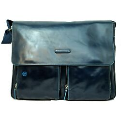 Man woman briefcase PIQUADRO BLUE SQUARE messenger blue leather bag CA3337B2 BLU