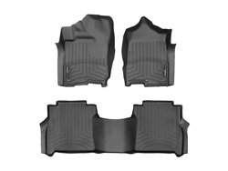 Weathertech Floorliner Mats For Nissan Titan / Xd Crew Cab 1st And 2nd Row Black