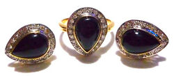 Modern Classy 14k Yellow Gold Onyx And 3/4ct Diamond Ring And Earrings Set Lot
