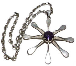 Designer Mexico Js Sterling Silver Flower Flake Purple Blue Stone Chain Necklace