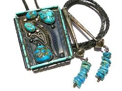 Turn Of The Century Native American Navajo Turquoise Sterling Silver Bolo Tie
