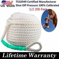 1/2x200and039 Twisted 3 Strand Nylon Anchor Rope Thimble Braided Boat Lines Dockline