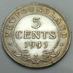 1941 Newfoundland 5 Five Cents Nickel Canadian Uncirculated Coin F186
