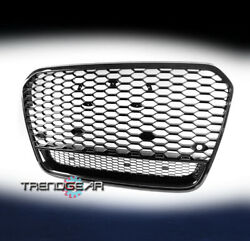 Front Mesh Rs6 Style Bumper Hood Hex Grille Black For 2012-2014 Audi A6 Quattro