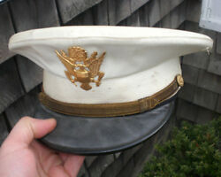 Rare Wwii Vintage Us Army Officer's Dress White Visor Cap, Local Estate Find...