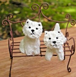 West Highland White Terrier -WESTIE- pair on a GARDEN BENCH!