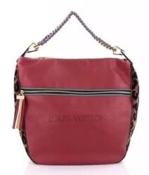 Authentic Louis Vuitton Red Leather and Leopard Jacquard Safari F