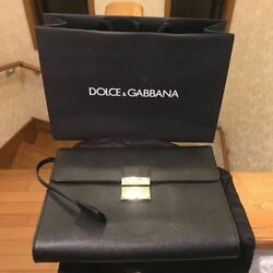 DOLCE & GABBANA D&G Men's Clutch Bag Black with Certificate of Authenticity