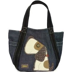 Chala Purse Handbag Leather & Canvas Carryall Tote Bag Puppy Dog $52.50