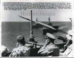 1957 Press Photo President Eisenhower watches Terrier missile of Canberra
