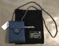 NWT Chanel Classic Quilt Caviar Calfskin Clutch With Chain Bag Tote Blue $2100