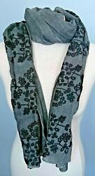 Big Sale Luxury Floral Scarf 100 Cotton Handmade, Embroidered Flowers