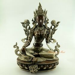 Fine Hand Carved 16 Green Tara / Dolma Oxidized Copper Statue From Patan, Nepal
