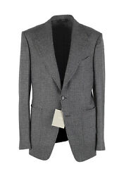 New Tom Ford Shelton Checked Gray Sport Coat Size 48 / 38r U.s. In Wool Alpac...
