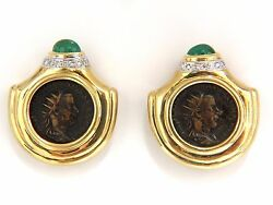 18kt 1.80ct Natural Emerald Diamond Coin Clip Earrings Byzantine Deco+