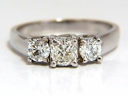 1.08ct Classic Three Natural Cushion And Rounds Diamond Ring 14kt +