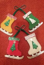 4 - VINTAGE HANDMADE FELT & SEQUIN  CHRISTMAS ORNAMENTS ICE SKATES X-MAS TREE