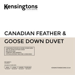 Canadian Goose 50/50 Feather And Down Duvet By Kensingtonsandreg. Hotel Quality