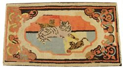Stunning 19th Century American Folk Art Cat And Kittens Large Hooked Rug