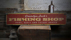 Fishing Shop Sign Grandpa Fishing Gift -Distressed Wooden Sign ENS1001865