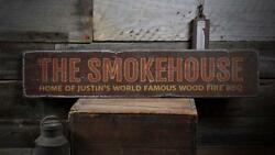 The Smokehouse Sign Custom Sign Bbq Lover -distressed Wooden Sign