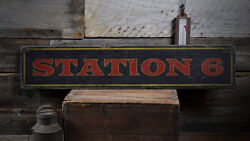 Station Wood Sign Fire Station Decor -distressed Wooden Sign