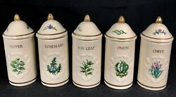 Lot Of 5 Lenox Spice Garden Jars With Lids Porcelain Chive Onion Pepper Bay Rose