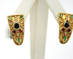 18k yellow gold vintage color stones & diamonds earrings 23mm x 13mm  10gr