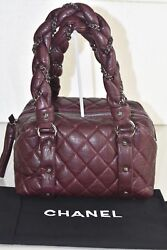 New Classic Tote Quilted Burgundy Soft Leather Lady Braid Bag Chains Cc