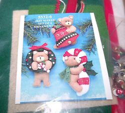 Design Works Felt Jewel Christmas TEDDY BEAR ORNAMENTS Makes 6