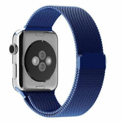 Blue Milanese Stainless Steel Band Strap For Apple Watch 38mm 40mm 42mm And 44mm
