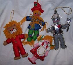 4 Vintage Felt & Sequins WIZARD Of OZ Ornaments BUCILLA 2113 DOROTHY & FRIENDS
