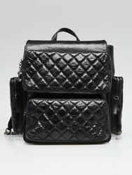 Chanel Black Quilted  Leather Casual Rock Backpack Bag