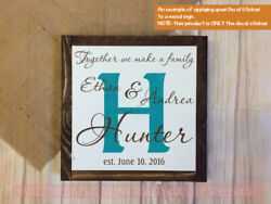 Wedding Couple Personalized Vinyl Decal Design With Background Letter Names Date