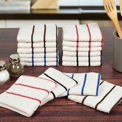 Lavish Home 8 Piece 100% Cotton Chevron Terry Kitchen Towel Set 28 x 16 Inches