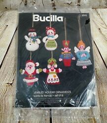 Bucilla Felt Ornament Kit Santa & Friends Jeweled Kit Set of 6 Christmas 3590