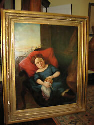 Museum Quality Antique American Portrait Nap Time Girl And Doll Fit 4 A Castle