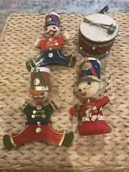Vintage Christmas Felt Toy SoldiersMouseDrum Ornaments Made in Japan