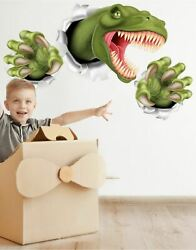T Rex Dinosaur Jumping out of wall. 3D Graphic Wall Decal Sticker. Peel and Stic