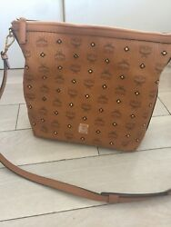 MCM Designer Luxury Logo Medium Gold Visetos Hobo Shoulder Bag