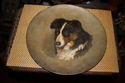 Antique 1800's Border Collie Dog Painting-Signed AC Ketterer-Realistic