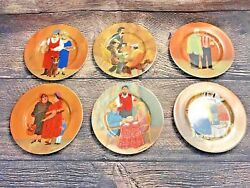 Beautiful Set Of 6 Vintage Guy Buffet Tuscan Storefronts Plates Made In Germany