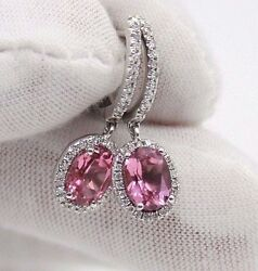 Ladies 14k White Gold Pink Tourmaline And Diamonds Small Dangle Earrings.26mm High