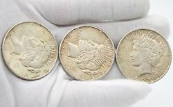 Lots Of 3 Liberty Peace Silver Dollar Coin. 2-1922 And 1-1923