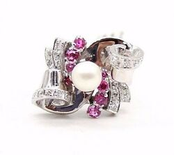 Vintage Retro Ladies 18k White Gold Ring With Rubiesdiamonds And Pearl .size 6