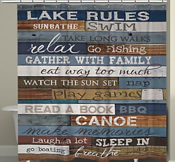 Shower Curtain 70 By 72'' Laural Home Lake Rule Rustic Wood Plank Calming Design