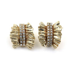 Exquisite Diamond and 14k Yellow Gold Ribbon Earrings  JH
