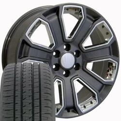 Oew Fits 22 Gunmetal With Chrome Silverado Wheels And Tires 4 Rims Chevy