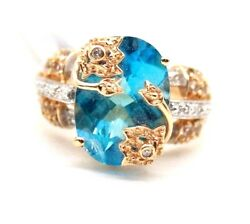 Ladies Vintage 14k Yellow Gold Blue Topaz And Cz Stones Ring Size 6