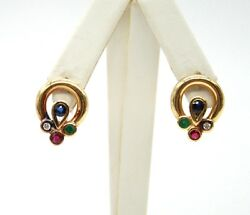 Vintage 18k Yellow Gold Color Stone Drop Earrings.push Backs 19mm H X 15mm W